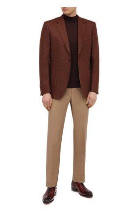 Мужские кожаные оксфорды SANTONI бордового цвета, арт. MCCR16229MC1HVVDQ52 | Фото 2 (Материал внутренний: Натуральная кожа; Стили: Классический)