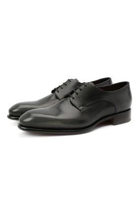 Мужские кожаные дерби SANTONI темно-серого цвета, арт. MCCR17030MC1HNGWG60 | Фото 1 (Материал внутренний: Натуральная кожа; Стили: Классический)