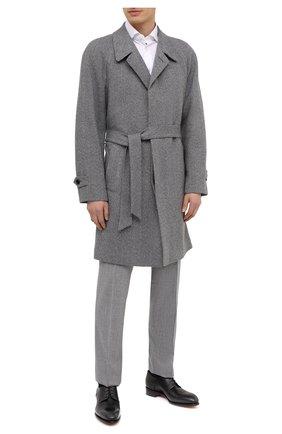 Мужские кожаные дерби SANTONI темно-серого цвета, арт. MCCR17030MC1HNGWG60 | Фото 2 (Материал внутренний: Натуральная кожа; Стили: Классический)