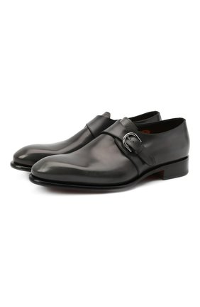 Мужские кожаные монки SANTONI темно-серого цвета, арт. MCCR17346MC1HNGWG60 | Фото 1 (Материал внутренний: Натуральная кожа; Стили: Классический)
