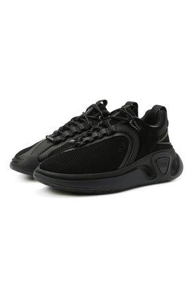 Мужские комбинированные кроссовки b-runner BALMAIN черного цвета, арт. VM1C261/TTRM   Фото 1