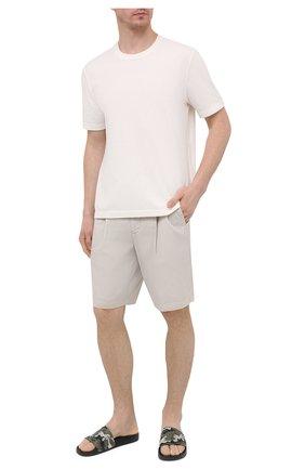 Мужские кожаные шлепанцы BALMAIN хаки цвета, арт. VM1C264/LNCM | Фото 2