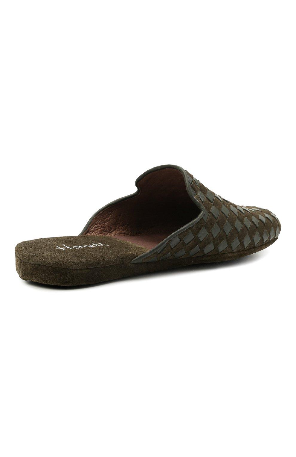 Мужского домашние туфли HOMERS AT HOME хаки цвета, арт. 16097/ANTE | Фото 4 (Материал внутренний: Натуральная кожа; Мужское Кросс-КТ: тапочки-обувь)