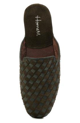 Мужского домашние туфли HOMERS AT HOME хаки цвета, арт. 16097/ANTE | Фото 5 (Материал внутренний: Натуральная кожа; Мужское Кросс-КТ: тапочки-обувь)