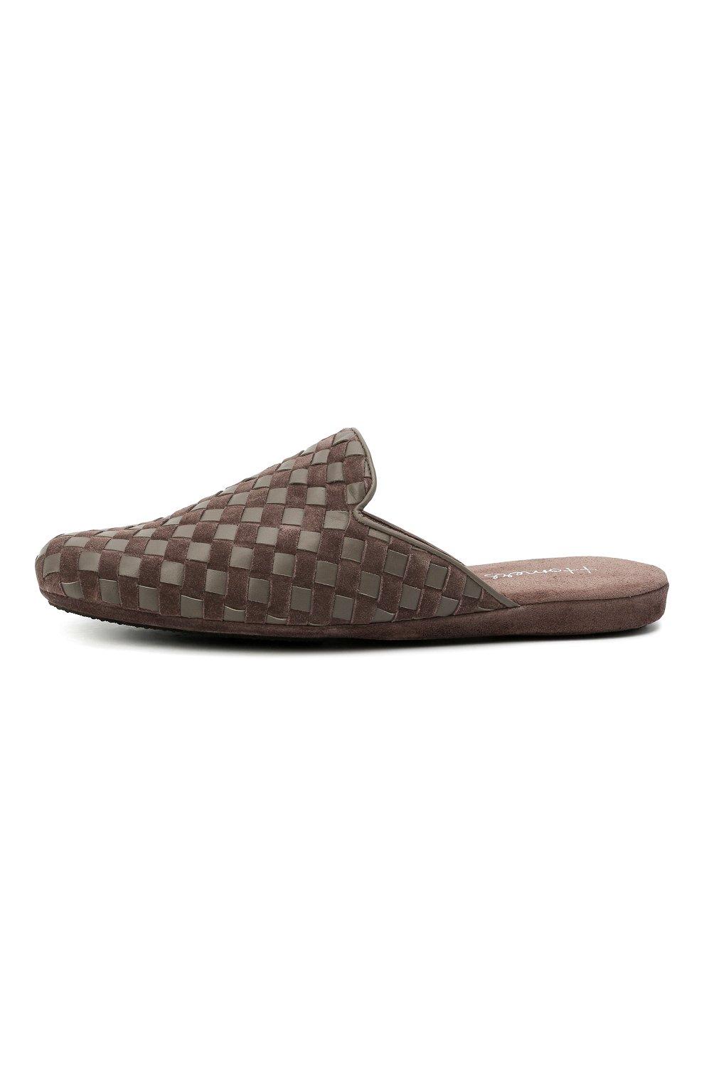 Мужского домашние туфли HOMERS AT HOME коричневого цвета, арт. 16097/ANTE   Фото 3 (Материал внутренний: Натуральная кожа; Мужское Кросс-КТ: тапочки-обувь)