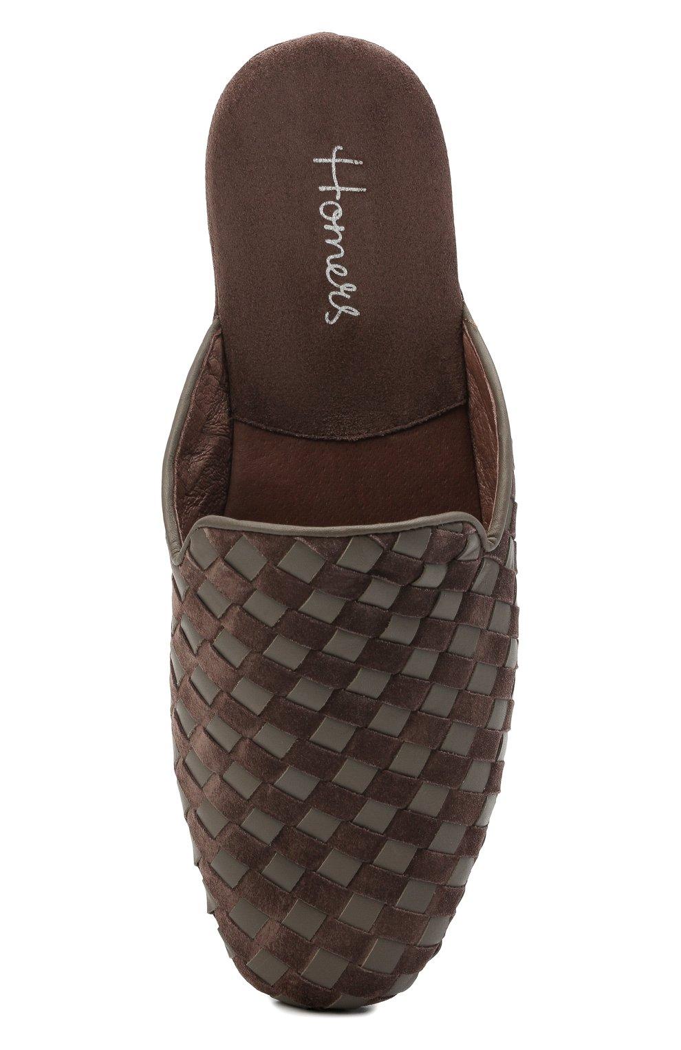 Мужского домашние туфли HOMERS AT HOME коричневого цвета, арт. 16097/ANTE   Фото 5 (Материал внутренний: Натуральная кожа; Мужское Кросс-КТ: тапочки-обувь)