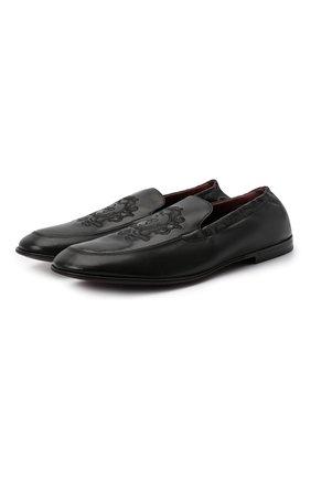 Мужские кожаные лоферы DOLCE & GABBANA черного цвета, арт. A50434/A0251 | Фото 1 (Материал внутренний: Натуральная кожа; Стили: Кэжуэл; Материал внешний: Кожа)