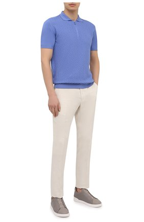 Мужские кожаные кеды triple stitch ZEGNA COUTURE светло-серого цвета, арт. A4665X-LHSPT | Фото 2