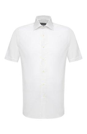 Мужская хлопковая рубашка CANALI белого цвета, арт. NY18/GR01598 | Фото 1 (Рукава: Короткие; Длина (для топов): Стандартные; Материал внешний: Хлопок; Рубашки М: Slim Fit; Случай: Повседневный; Воротник: Кент; Принт: Однотонные; Стили: Кэжуэл)