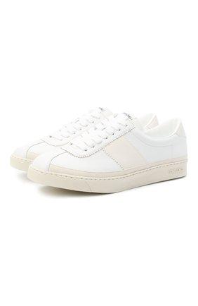 Мужские кожаные кеды TOM FORD белого цвета, арт. J1261T-TAP001 | Фото 1 (Материал внутренний: Текстиль, Натуральная кожа; Подошва: Плоская)
