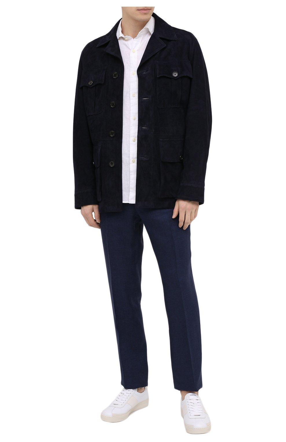 Мужские кожаные кеды TOM FORD белого цвета, арт. J1261T-TAP001 | Фото 2