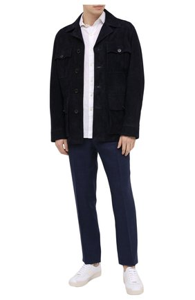 Мужские кожаные кеды TOM FORD белого цвета, арт. J1261T-TAP001 | Фото 2 (Материал внутренний: Текстиль, Натуральная кожа; Подошва: Плоская)