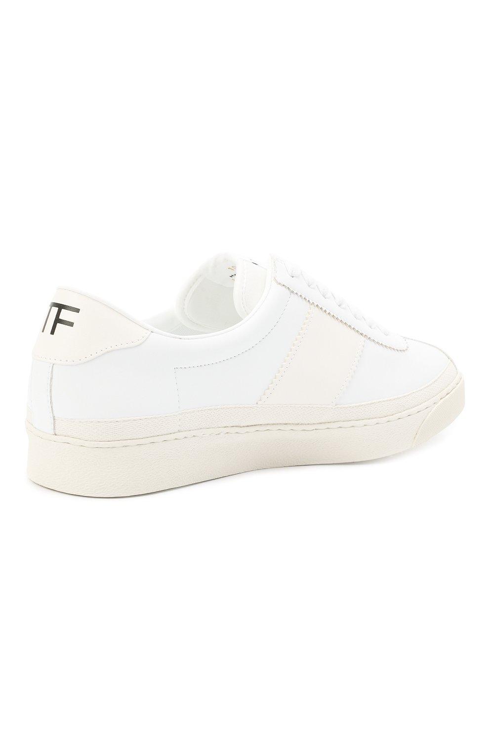Мужские кожаные кеды TOM FORD белого цвета, арт. J1261T-TAP001 | Фото 4