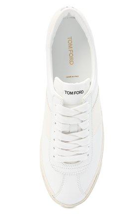Мужские кожаные кеды TOM FORD белого цвета, арт. J1261T-TAP001 | Фото 5