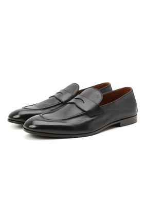 Мужские кожаные пенни-лоферы BRUNELLO CUCINELLI темно-синего цвета, арт. MZUT0DZ872 | Фото 1 (Материал внутренний: Натуральная кожа; Стили: Классический; Мужское Кросс-КТ: Лоферы-обувь)