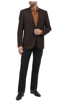 Мужские кожаные пенни-лоферы BRUNELLO CUCINELLI темно-синего цвета, арт. MZUT0DZ872 | Фото 2 (Материал внутренний: Натуральная кожа; Стили: Классический; Мужское Кросс-КТ: Лоферы-обувь)