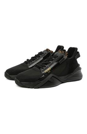 Мужские комбинированные кроссовки FENDI черного цвета, арт. 7E1392 EKV | Фото 1