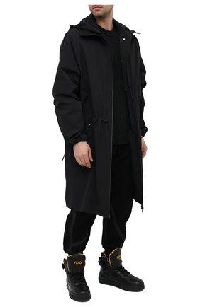 Мужские кожаные кеды FENDI черного цвета, арт. 7E1397 SNY | Фото 2