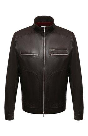 Мужская кожаная куртка BRUNELLO CUCINELLI темно-коричневого цвета, арт. MPSAT1817   Фото 1