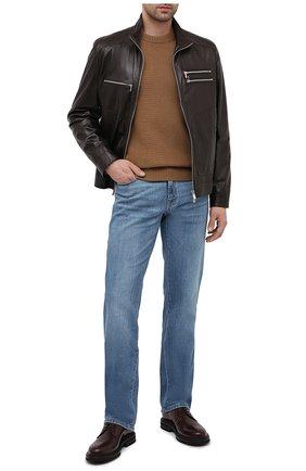 Мужская кожаная куртка BRUNELLO CUCINELLI темно-коричневого цвета, арт. MPSAT1817   Фото 2