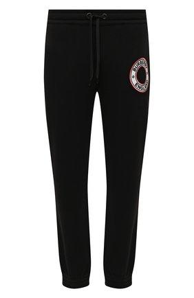 Мужские хлопковые джоггеры BURBERRY черного цвета, арт. 8037983 | Фото 1 (Длина (брюки, джинсы): Стандартные; Материал внешний: Хлопок; Силуэт М (брюки): Джоггеры; Мужское Кросс-КТ: Брюки-трикотаж; Стили: Спорт-шик)