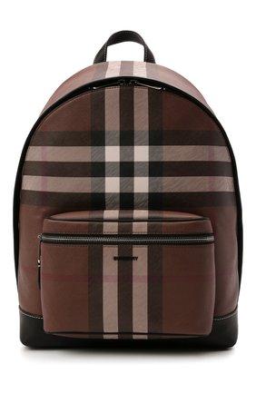 Мужской рюкзак BURBERRY коричневого цвета, арт. 8036549 | Фото 1 (Материал: Экокожа, Текстиль)