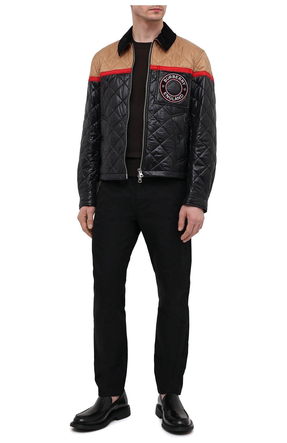 Мужские хлопковые брюки BURBERRY черного цвета, арт. 8033084 | Фото 2