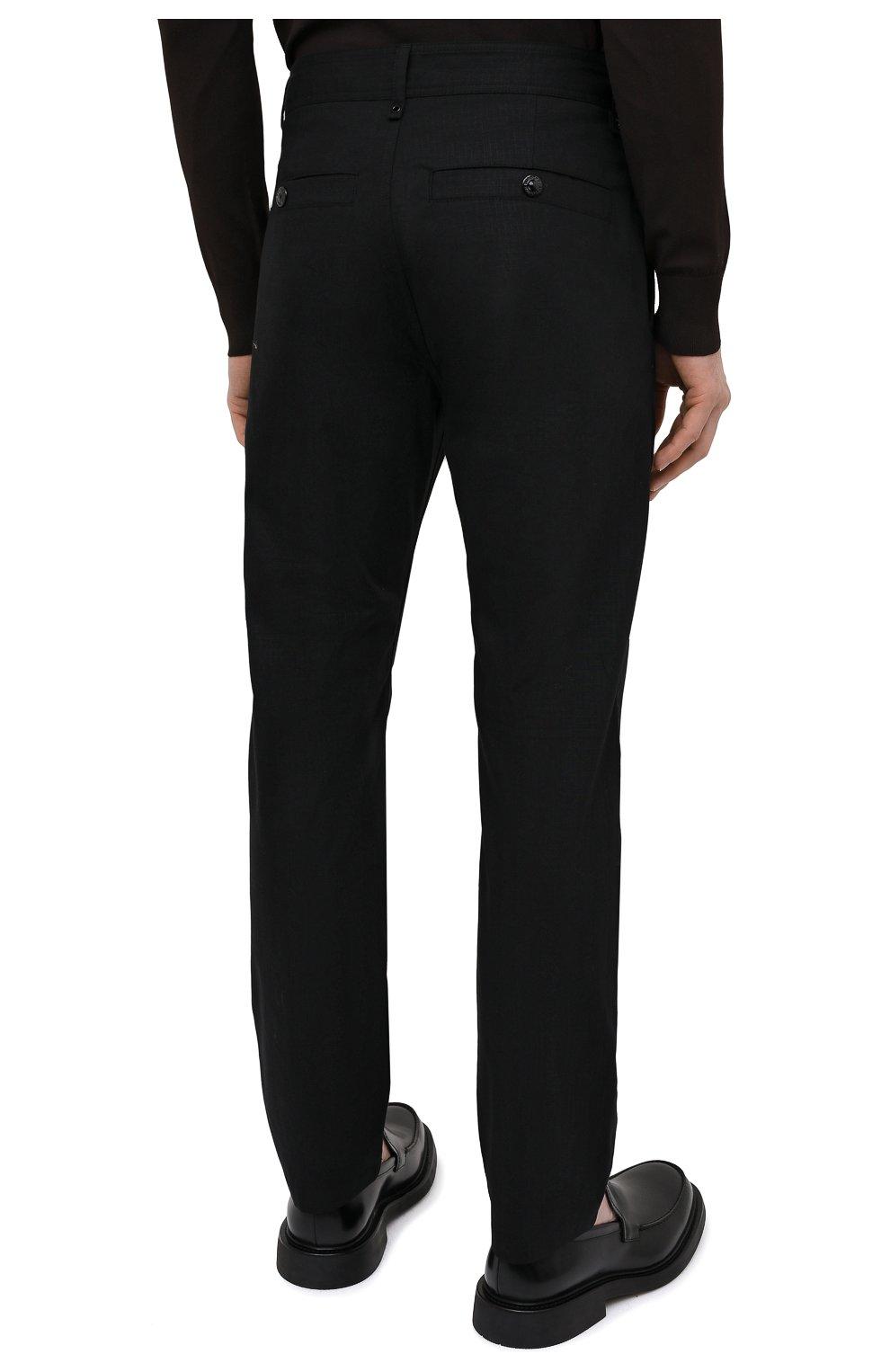 Мужские хлопковые брюки BURBERRY черного цвета, арт. 8033084 | Фото 4