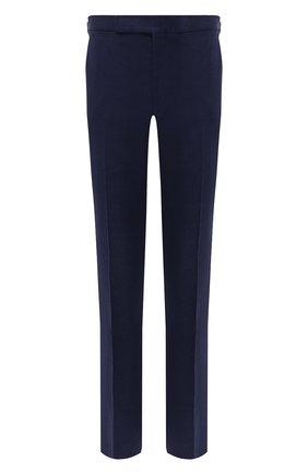 Мужские брюки изо льна и шелка RALPH LAUREN темно-синего цвета, арт. 798835953 | Фото 1