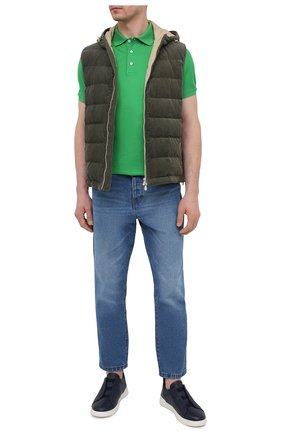 Мужское хлопковое поло RALPH LAUREN зеленого цвета, арт. 790508036 | Фото 2 (Материал внешний: Хлопок; Длина (для топов): Стандартные; Стили: Кэжуэл; Рукава: Короткие; Застежка: Пуговицы)