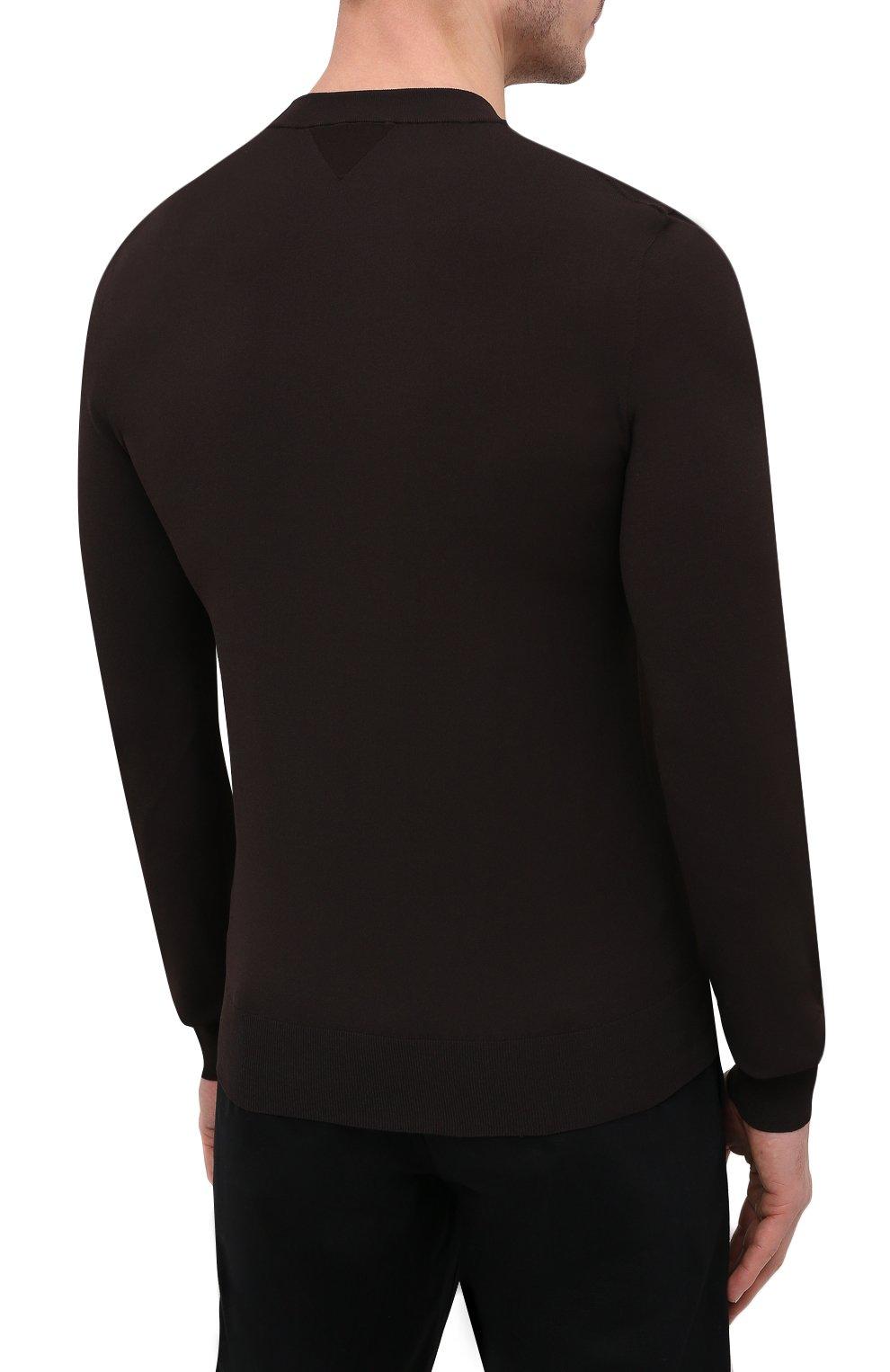 Мужской джемпер из вискозы BOTTEGA VENETA темно-коричневого цвета, арт. 647526/VKJK0 | Фото 4