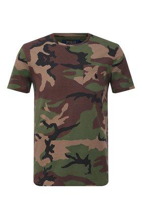 Мужская хлопковая футболка POLO RALPH LAUREN хаки цвета, арт. 710812948   Фото 1