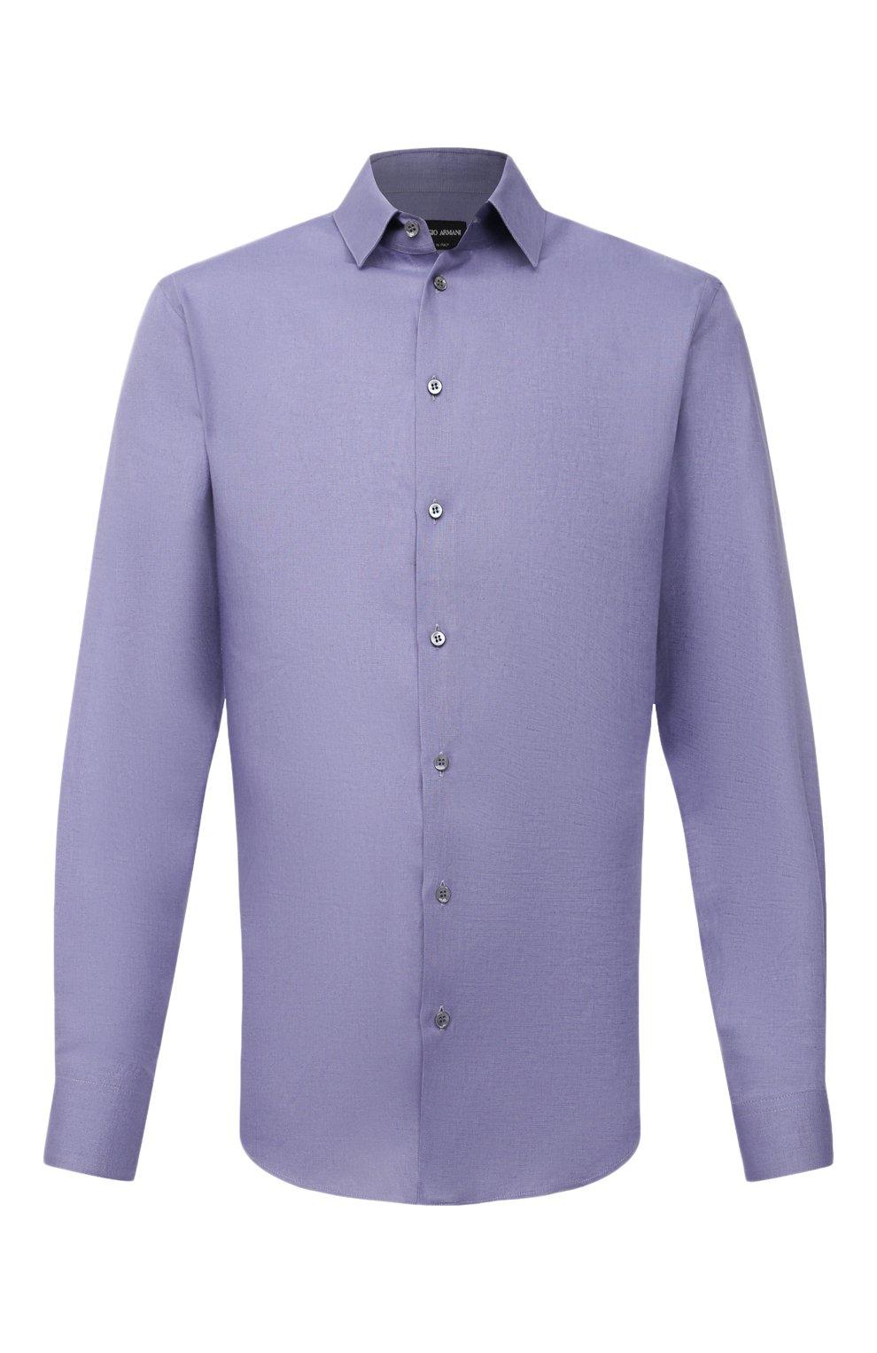 Мужская льняная рубашка GIORGIO ARMANI фиолетового цвета, арт. 8WGCCZ97/TZ256 | Фото 1