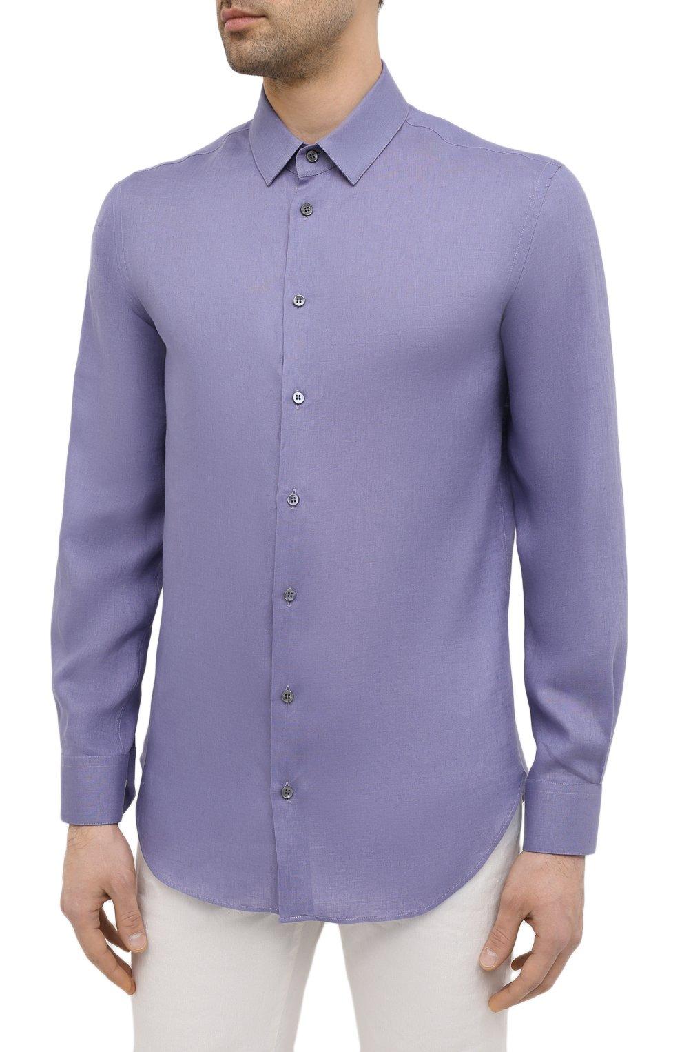 Мужская льняная рубашка GIORGIO ARMANI фиолетового цвета, арт. 8WGCCZ97/TZ256 | Фото 3