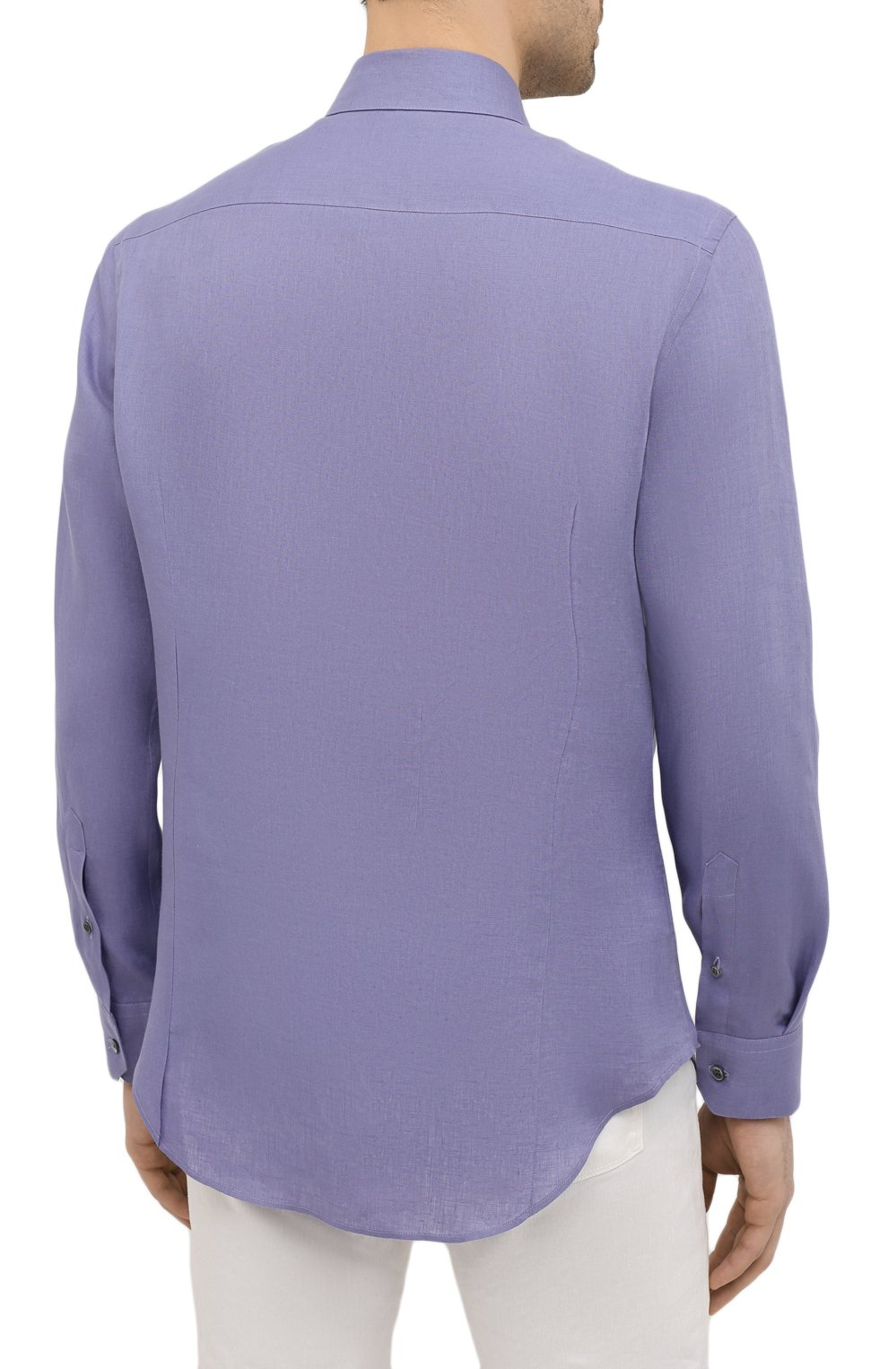 Мужская льняная рубашка GIORGIO ARMANI фиолетового цвета, арт. 8WGCCZ97/TZ256 | Фото 4