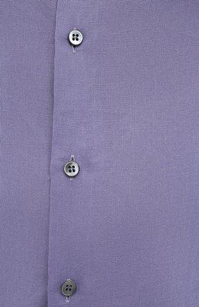 Мужская льняная рубашка GIORGIO ARMANI фиолетового цвета, арт. 8WGCCZ97/TZ256 | Фото 5