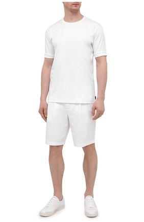 Мужская хлопковая футболка GIORGIO ARMANI белого цвета, арт. 3KSM93/SJXDZ   Фото 2