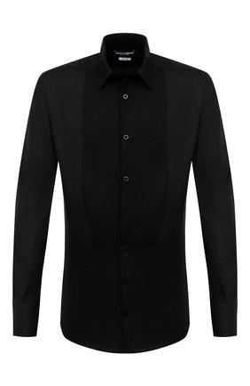 Мужская хлопковая сорочка DOLCE & GABBANA черного цвета, арт. G5EN4T/GED78 | Фото 1