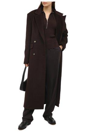 Женское пальто из шерсти и вискозы LESYANEBO коричневого цвета, арт. FW20/H-405 | Фото 2