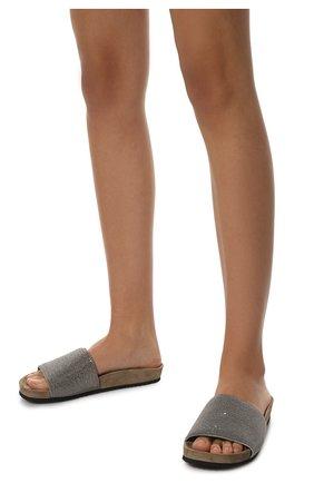 Женские замшевые шлепанцы BRUNELLO CUCINELLI серебряного цвета, арт. MZMIG1390 | Фото 2 (Материал внутренний: Натуральная кожа; Подошва: Платформа; Материал внешний: Замша)