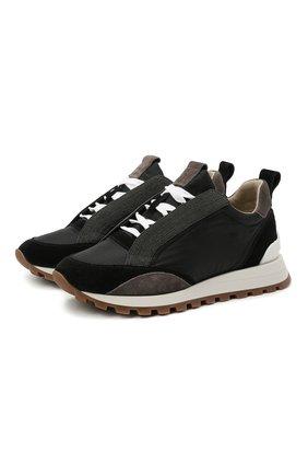 Женские комбинированные кроссовки BRUNELLO CUCINELLI черного цвета, арт. MZSFG1564 | Фото 1 (Подошва: Платформа; Материал внутренний: Текстиль)