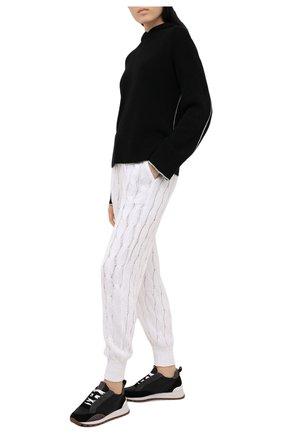 Женские комбинированные кроссовки BRUNELLO CUCINELLI черного цвета, арт. MZSFG1564 | Фото 2 (Подошва: Платформа; Материал внутренний: Текстиль)