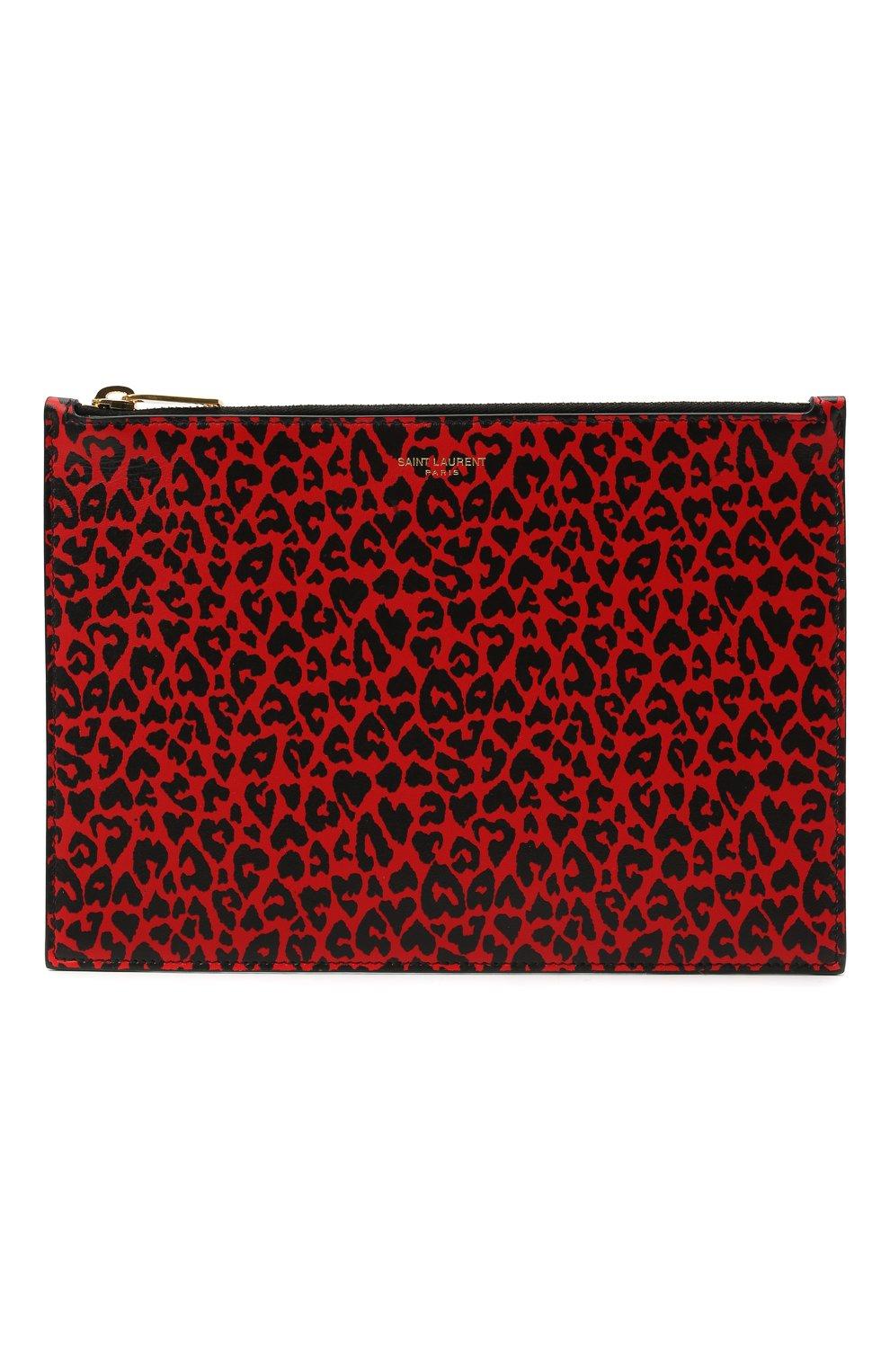 Женские кожаный футляр для документов SAINT LAURENT красного цвета, арт. 635098/2RU0J | Фото 1