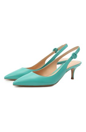 Женские кожаные туфли anna GIANVITO ROSSI бирюзового цвета, арт. G93540.55RIC.VITMALE | Фото 1