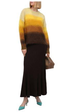 Женские кожаные туфли anna GIANVITO ROSSI бирюзового цвета, арт. G93540.55RIC.VITMALE | Фото 2