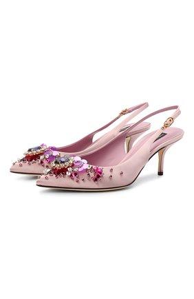 Женские текстильные туфли DOLCE & GABBANA розового цвета, арт. CG0426/AW134   Фото 1