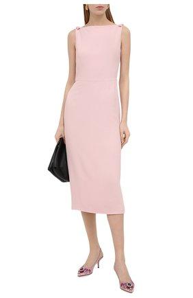 Женские текстильные туфли DOLCE & GABBANA розового цвета, арт. CG0426/AW134   Фото 2