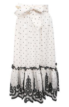 Женская юбка из льна и шелка ZIMMERMANN черно-белого цвета, арт. 9868SAND | Фото 1