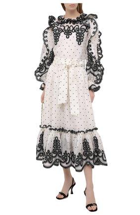 Женская юбка из льна и шелка ZIMMERMANN черно-белого цвета, арт. 9868SAND | Фото 2