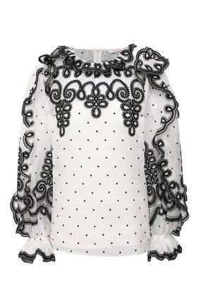 Женская блузка из льна и шелка ZIMMERMANN черно-белого цвета, арт. 9875TAND | Фото 1
